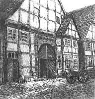 Elisabeth Ruest: Ackerbürgerhaus am Schwalenberger Marktplatz, um 1910