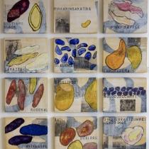 Christa Niestrat . die sieglinde und die linda  sind dem hermann seine lieblingskartoffeln . 12-teilig je 40 x 50 cm . Mischtechnik auf Leinwand