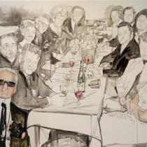 Sabine Timmer . Tischgesellschaft . 2019 . 70 x 100 cm . Acryl auf Leinwand