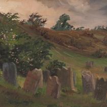 Franz Born: Landschaft mit Grabsteinen, 1911